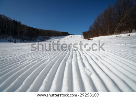 striped snow, after ratrac, Belokurikha, winter resort.