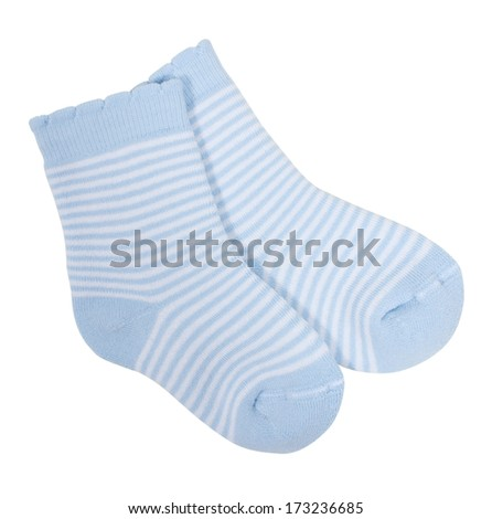 Striped socks isolated on white background. Clipping paths included. - stock photo