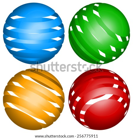 Striped spheres abstract elements - stock photo