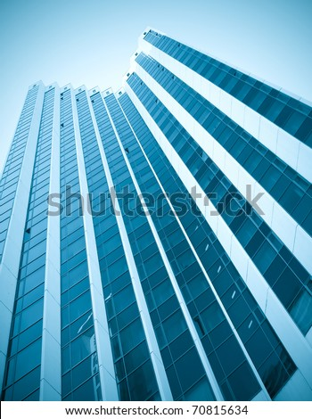 striped texture of glass high-rise building - stock photo