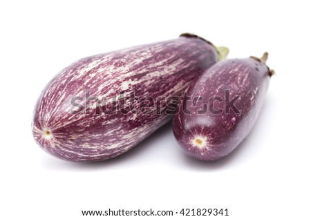 striped violet and white eggplant isolated on white background - stock photo