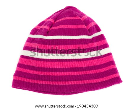Striped warm hat isolated on white background - stock photo