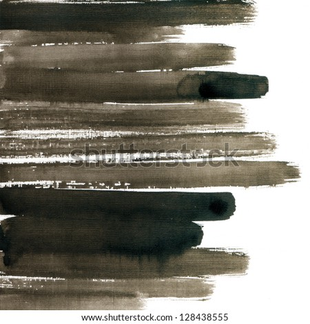 Striped watercolor hand drawn background - stock photo