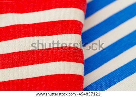 Striped white red blue fabric fashion background