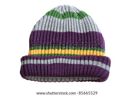 striped winter hat - stock photo