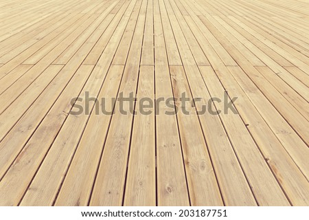 Striped wooden plank background and texture in diminishing perspective - stock photo