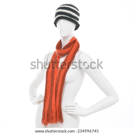 Striped Wool Hat with scarf on female mannequin-white background  - stock photo