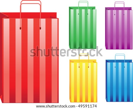 Stripped color sale shopping bags.raster version - stock photo