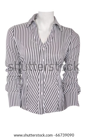 Stripped female blouse isolated on white - stock photo