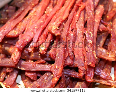 strips of flesh very spicy called coppiette typical culinary specialties of Lazio in Italy