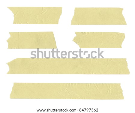 Strips of masking tape. Isolated on white.  - stock photo