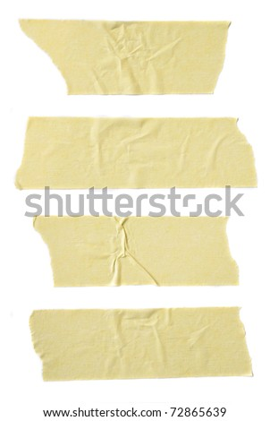 Strips of masking tape isolated on white background. - stock photo