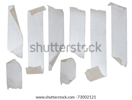 Strips of masking tape. Isolated on white background. - stock photo
