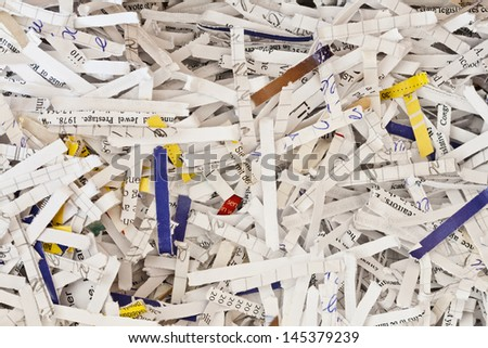 strips of shredded pieces of paper as background  - stock photo