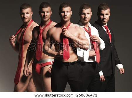 Striptease businessman. One person five times - stock photo