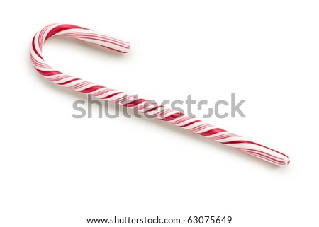 stripy candy cane on white background - stock photo