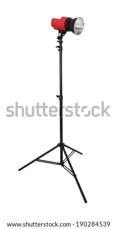 Strobe flash light with stand on white background.