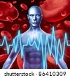 Stroke and heart attack warning signs medical symbol including loss of strength and numbness trouble speaking and vision problems caused by poor blood health and circulation. - stock photo