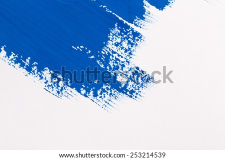 stroke blue paint brush color water watercolor isolated on white background - stock photo