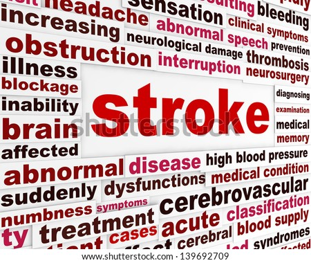 Stroke medical warning message. Neurological disease word clouds background - stock photo
