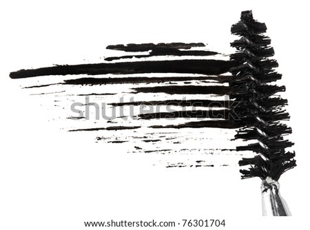 Stroke of black mascara with applicator brush, isolated on white macro - stock photo