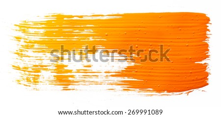 Strokes of orange paint isolated on white background - stock photo