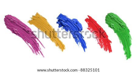 strokes of paint brush isolated on white background. each one shoot separately - stock photo