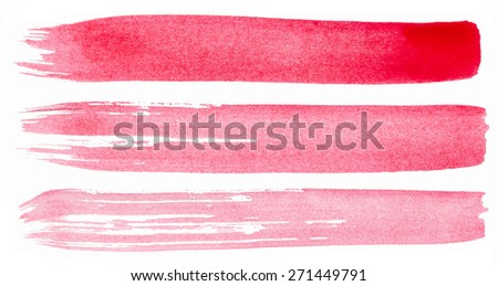 Strokes of pink paint isolated on white background - stock photo