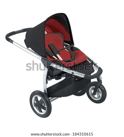 Stroller isolated on white background - stock photo