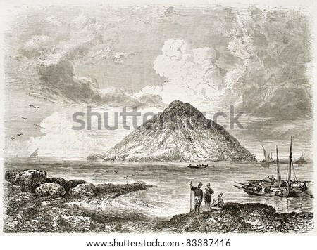 Stromboli island old view, Italy. Created by Rouargue, published on Le Tour du Monde, Paris, 1860 - stock photo
