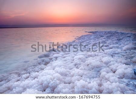 Strong and big salt crystal located on coast of Dead Sea, Jordan - stock photo