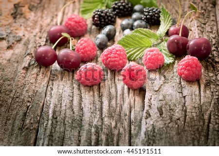Strong antioxidant for your health - fresh organic  berry fruits - stock photo