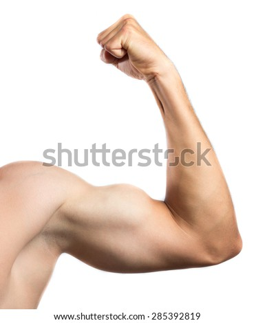 Strong arm against white background