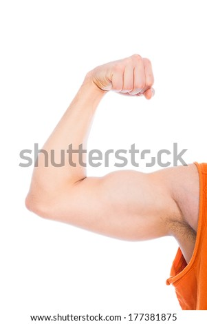 strong arm with muscles on white background