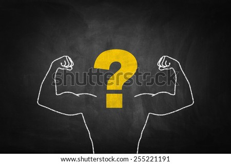Strong Arms chalk drawing with question mark on blackboard. - stock photo