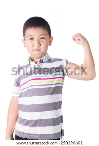Strong Asian boy  showing off his biceps flexing muscles his arm, isolated on white background - stock photo