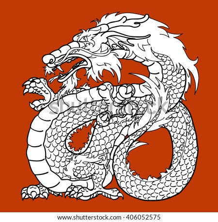 Strong Asian dragon black contour on brown background