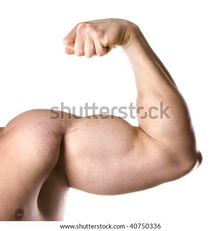 strong athletic hand isolated on white background