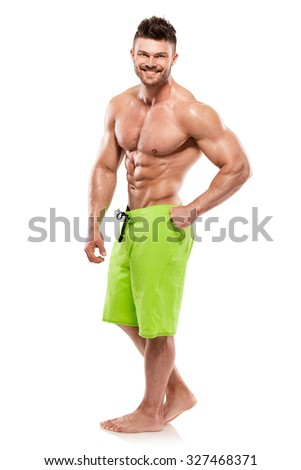 Strong Athletic Man Fitness Model Torso showing big muscles isolated over white background - stock photo