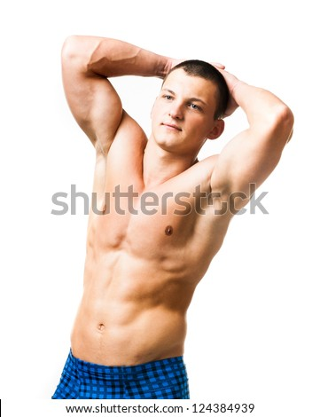 strong athletic man torso on white background - stock photo