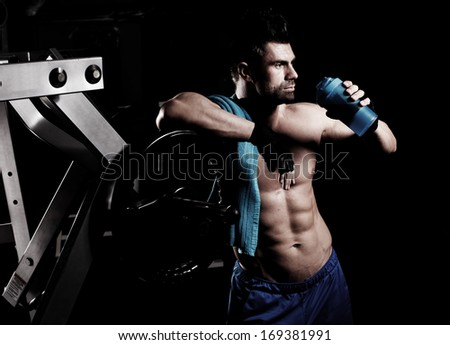 strong athletic mans - stock photo