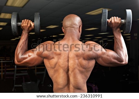 Strong back and shoulders on a  ripped lean muscle fitness man lifting weights. - stock photo