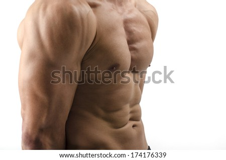 Strong bodybuilder man with perfect abs, shoulders,biceps, triceps and chest flexing his muscles