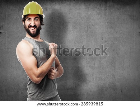 strong builds worker - stock photo