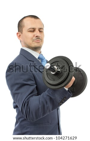 Strong business man with dumbbell isolated on a white background - stock photo