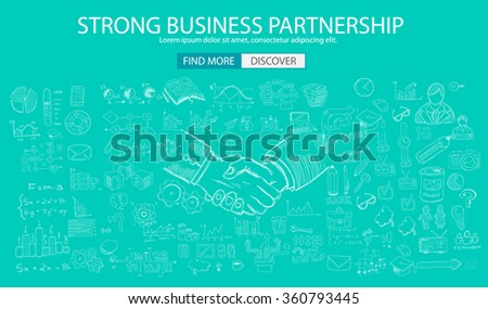 Strong Business Partnership concept wih Doodle design style :finding solution, brainstorming, creative thinking. Modern style illustration for web banners, brochure and flyers. - stock photo