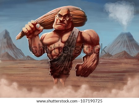 strong caveman with his club in a ancient background - stock photo