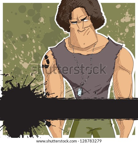 Strong character on a dirty background. Raster version. - stock photo