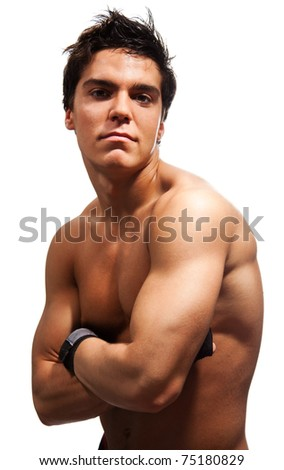 Strong confident male adult, with huge and powerful muscles, isolated on white