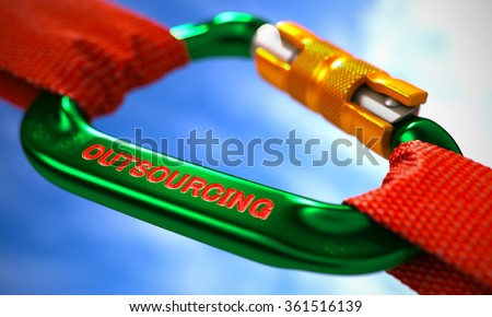 Strong Connection between Green Carabiner and Two Red Ropes Symbolizing the Outsourcing. Selective Focus. - stock photo